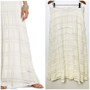CHICO'S Cream Lia Lace Boho Maxi Skirt Size 2